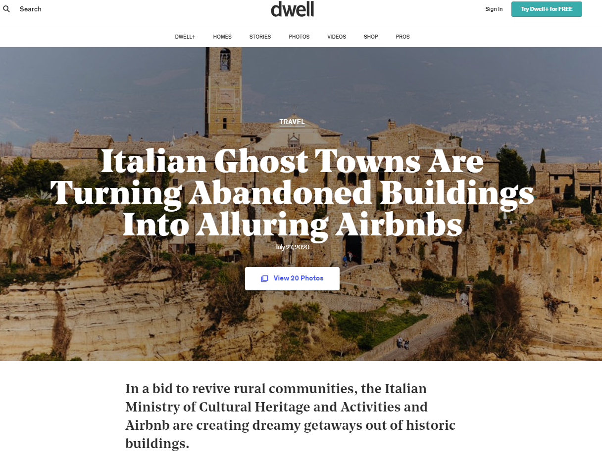 Image of  DWELL: Italian Ghost Towns Are Turning Abandoned Buildings Into Alluring Airbnbs