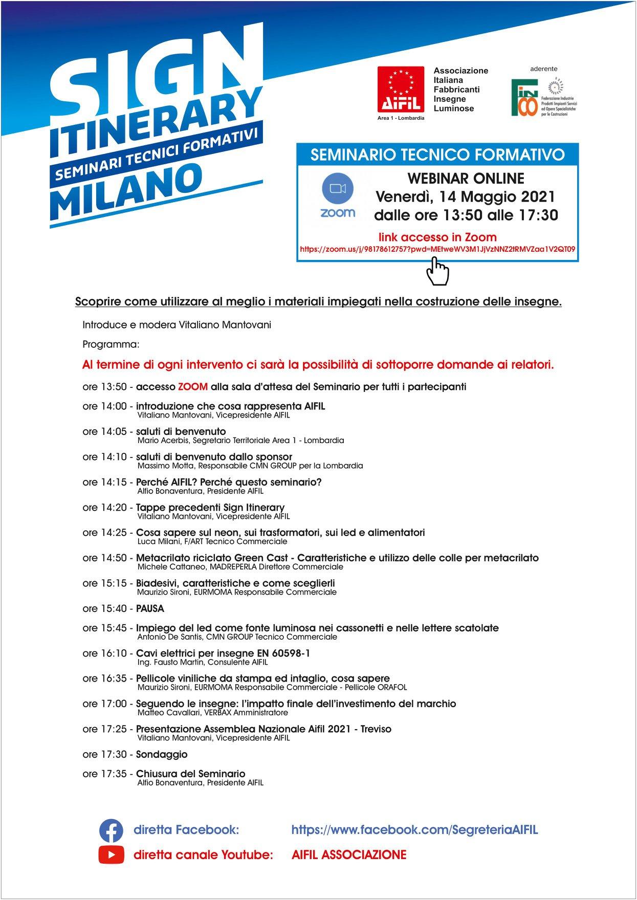 Programma dettagliato Sign Itinerary Milano, aifil